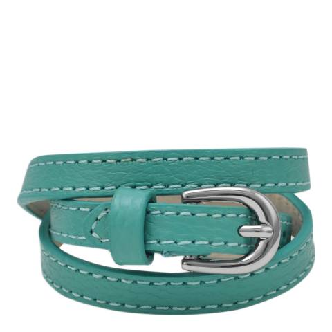 Chloe Collection by Liv Oliver Turquoise Leather Wrap Bracelet
