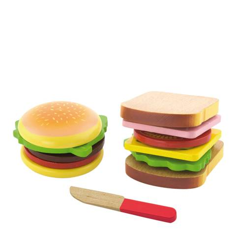 Viga Toys 11 Piece Hamburger And Sandwich Set