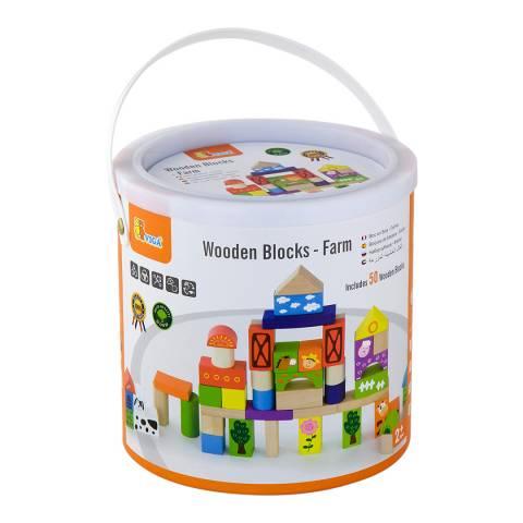 Viga Toys 50 Piece Farm Building Blocks in a Drum