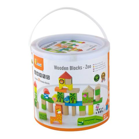 Viga Toys 50 Piece Zoo Building Blocks in a Drum
