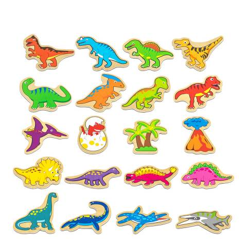 Viga Toys 20 Piece Wooden Magnetic Dinosaurs