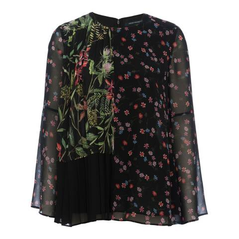 French Connection Black Multi Bluhm Botero Sheer Top