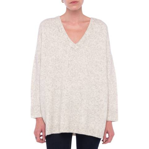 French Connection Beige Flossy V Neck