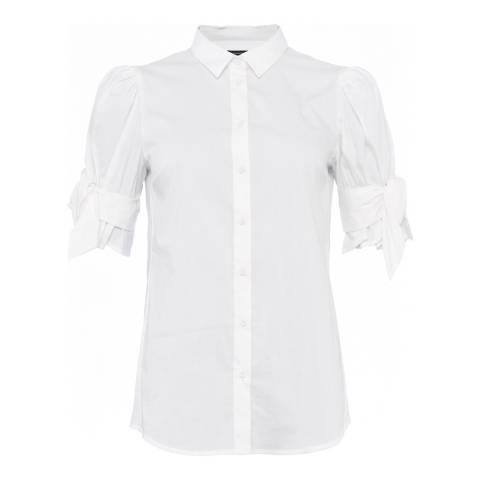 French Connection White Eastside Cotton Bow Sleeve Shirt