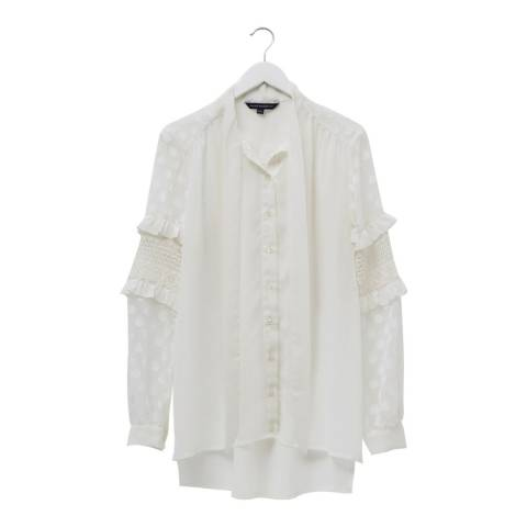 French Connection White Frilled Lace Blouse