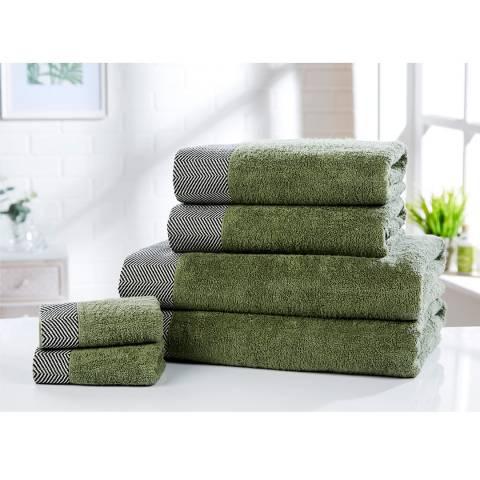 Rapport Tidal Set of 6 Towels, Sage