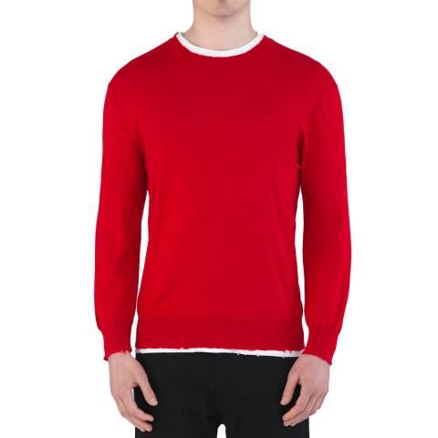 Kent & Curwen Red Distressed Lowry Crew Neck Wool Jumper