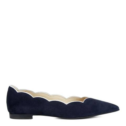 Hobbs London Navy White Leather Simone Scallop Flat Shoes