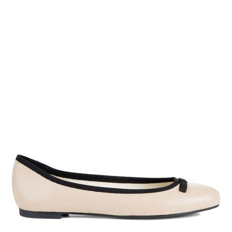 Hobbs London Light Nude Leather Flo Bow Ballerina Shoes