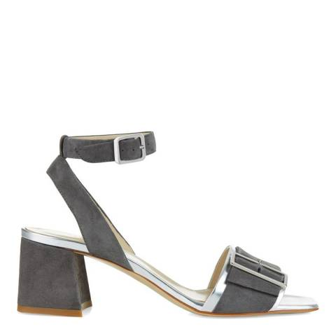 Hobbs London Grey Silver Leather Tara Buckled Sandals