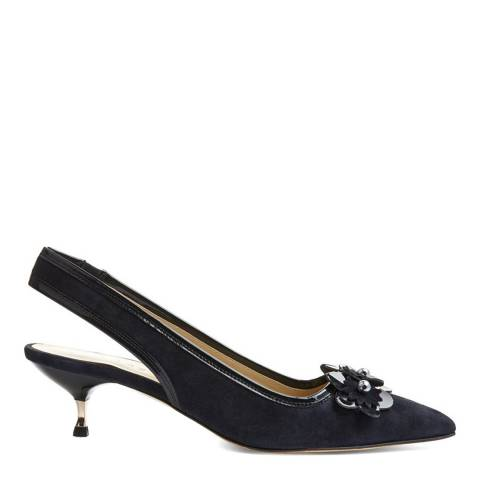 Hobbs London Navy Suede Daisy Kitten Heel Slingbacks
