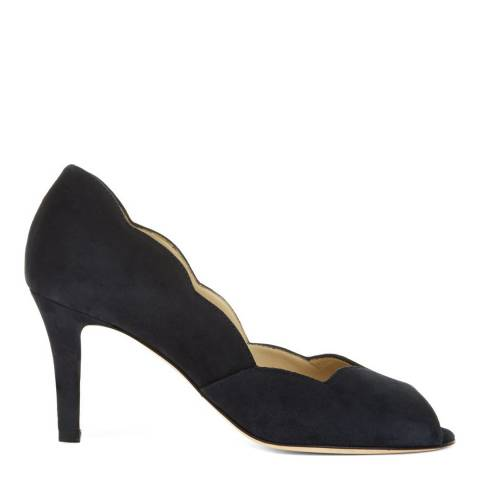 Hobbs London Navy Suede Violet Peep Toe Court Shoes