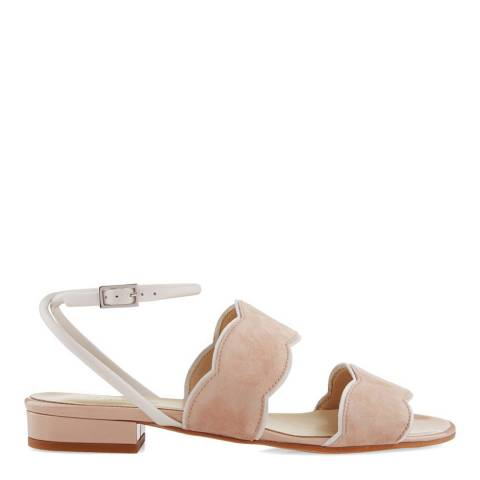 Hobbs London Light Nude Suede Katherine Scallop Sandals