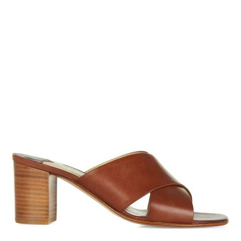 Hobbs London Tan Leather Darcy Cross Over Mules
