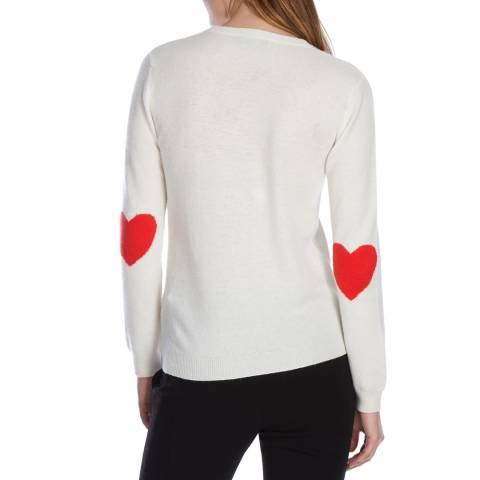 Scott & Scott London Cream/Geranium Heart Elbow Cashmere Jumper