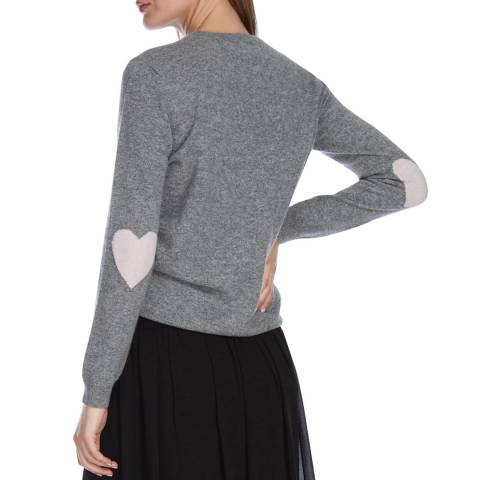 Scott & Scott London Mid Grey/Cherry Blossom Heart Elbow Cashmere Jumper