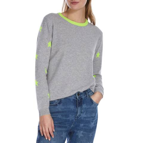 Scott & Scott London Flint Grey/Neon Yellow Stars Cashmere Jumper