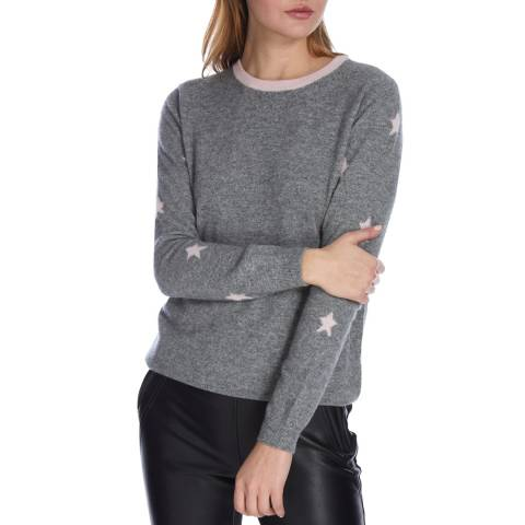 Scott & Scott London Mid Grey/Cherry Blossom Stars Cashmere Jumper