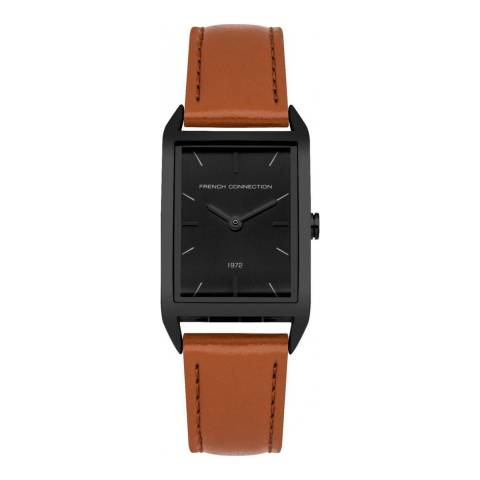 French Connection Black Satin Sunray Strap Watch