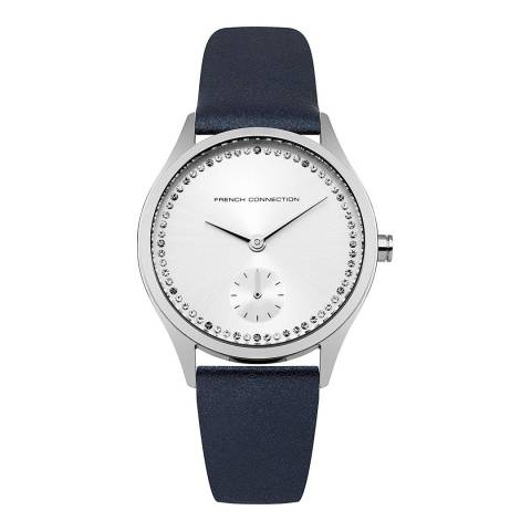 French Connection Navy Pearlised Leather Strap Watch