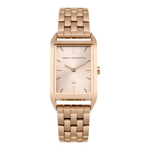 French Connection Rose Gold Rectangle Metal Watch
