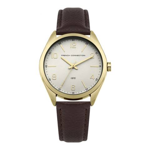French Connection Dark Brown Leather Strap Watch