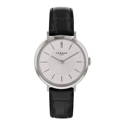 L K Bennett Silver White Satin Watch With Silver Casing