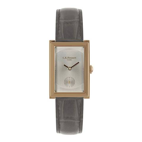 L K Bennett  Warm Grey Satin Watch With Rose Gold Casing