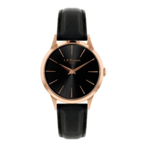 L K Bennett Black Sunray Watch With Rose Gold Casing