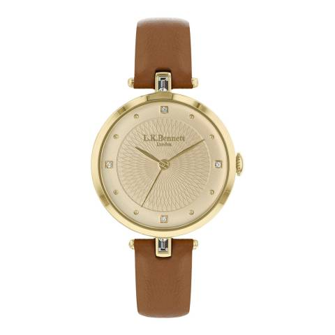 L K Bennett  Champagne Satin Watch With Gold Casing