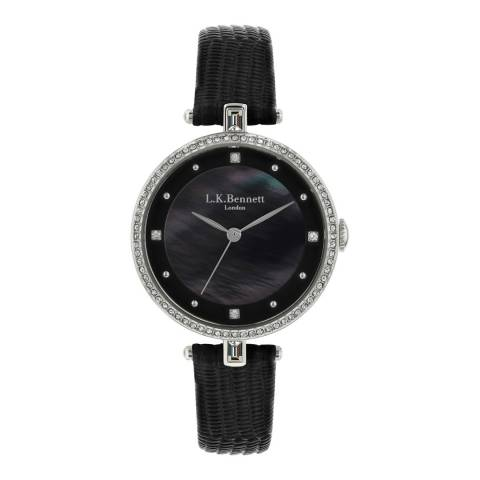 L K Bennett Black Satin And Mother Of Pearl Watch With Silver Casing