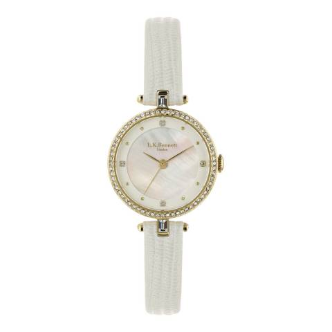L K Bennett  Silver White Satin And Mother Of Pearl Watch With Gold Casing