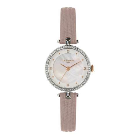 L K Bennett Silver White Satin And Mother Of Pearl Watch With Silver Casing