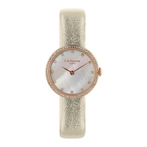 L K Bennett  Mother Of Pearl Watch With Rose Gold Casing