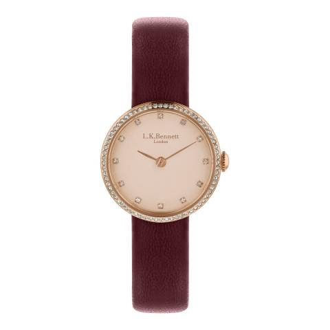L K Bennett Rose Gold Satin Watch With Rose Gold Casing