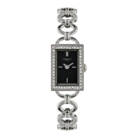 L K Bennett Black Satin Watch With Silver Casing
