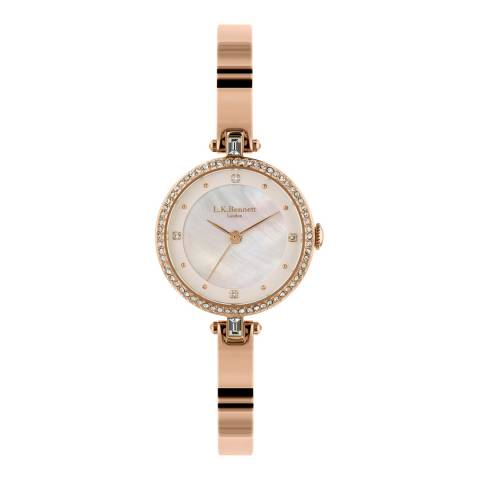 L K Bennett  Silver White Satin And Mother Of Pearl Watch With Rose Gold Casing