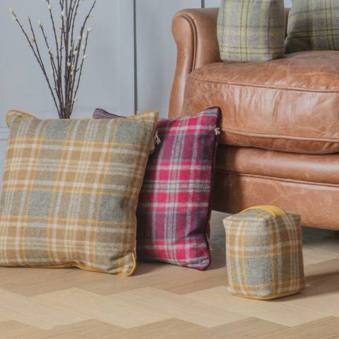 Kilburn & Scott Plum Farnley Check Cushion 43x43cm