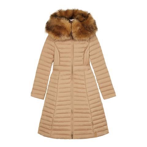 Hunter Beige Refined Down Coat With Fur Hood