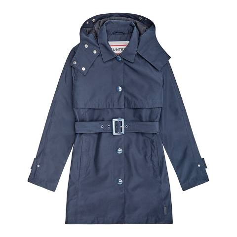 Hunter Navy Refined Mid-Length Trench