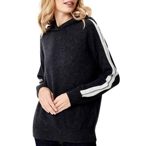 Manode Dark Grey Cashmere Stripe Sleeve Knitted Hoody