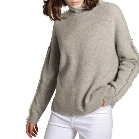 Manode Grey Cashmere Mix High Neck Frayed Sleeve Detail Jumper