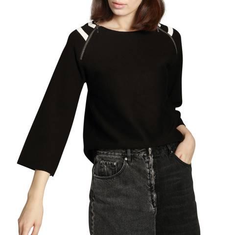 Manode Black Cashmere Mix Zip Stripe Jumper