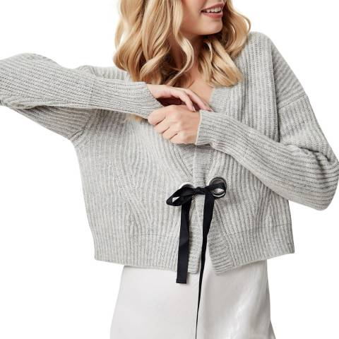 Manode Grey Cashmere Knitted Ribbon Tie Cardigan