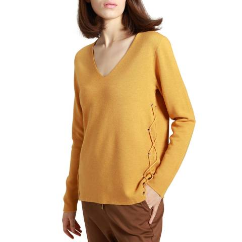 Manode Yellow Cashmere Mix Lace Detail Jumper