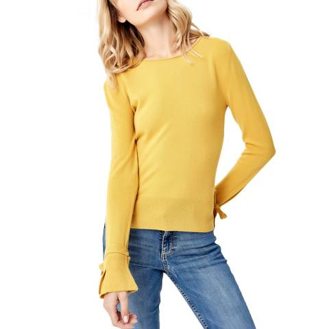 Manode Yellow Cashmere Tie Cuff Knitted Jumper