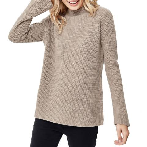 Manode Brown Cashmere Ribbed High Neck Knitted Jumper
