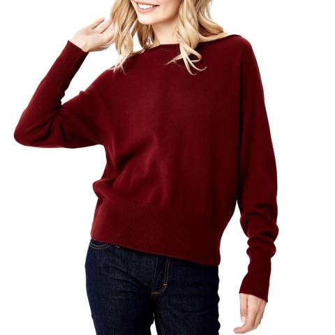 Manode Red Cashmere Knitted Open Neck Jumper