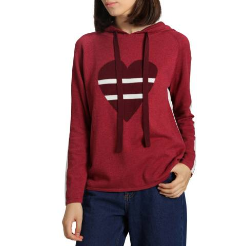 Manode Red Cashmere Mix Heart Hoody