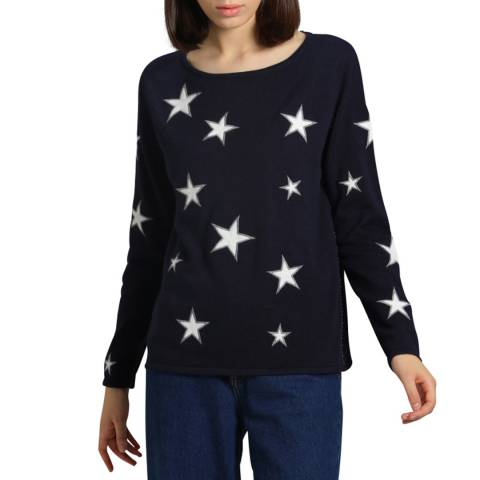 Manode Navy Cashmere Mix Star Jumper